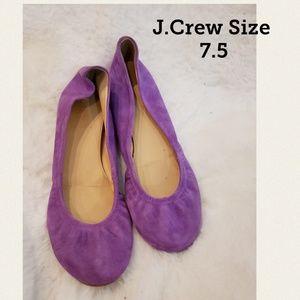 J.Crew Cece Purple Suede Ballet Flats Size 7.5